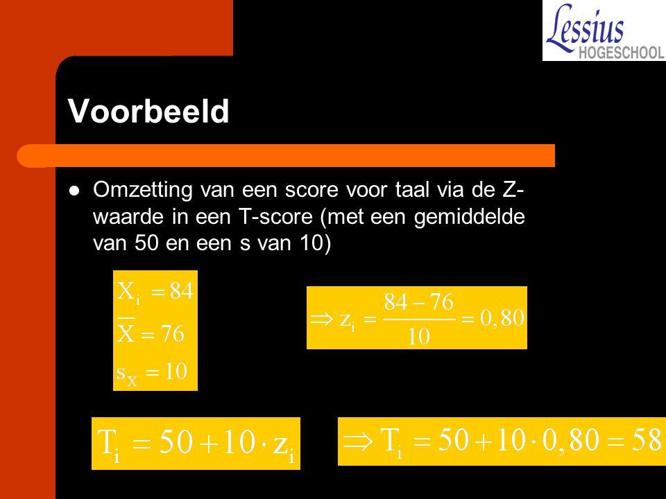 Voorbeeld Omzetting van een score voor taal via de Z- waarde in een T-score (met een gemiddelde van 50 en een s van 10)