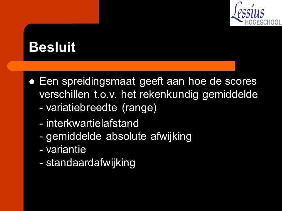 Besluit Een spreidingsmaat geeft aan hoe de scores verschillen t.o.v.