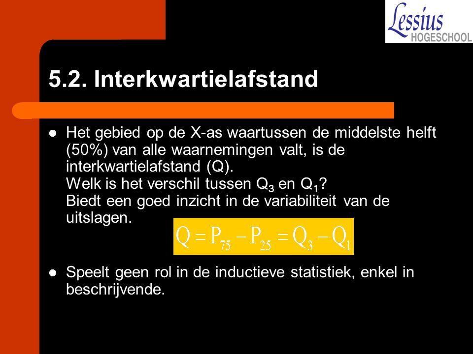 5.2. Interkwartielafstand Het gebied op de X-as waartussen de middelste helft (50%) van alle waarnemingen valt, is de interkwartielafstand (Q). Welk i