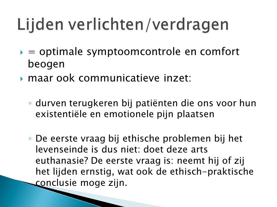  = optimale symptoomcontrole en comfort beogen  maar ook communicatieve inzet: ◦ durven terugkeren bij patiënten die ons voor hun existentiële en em