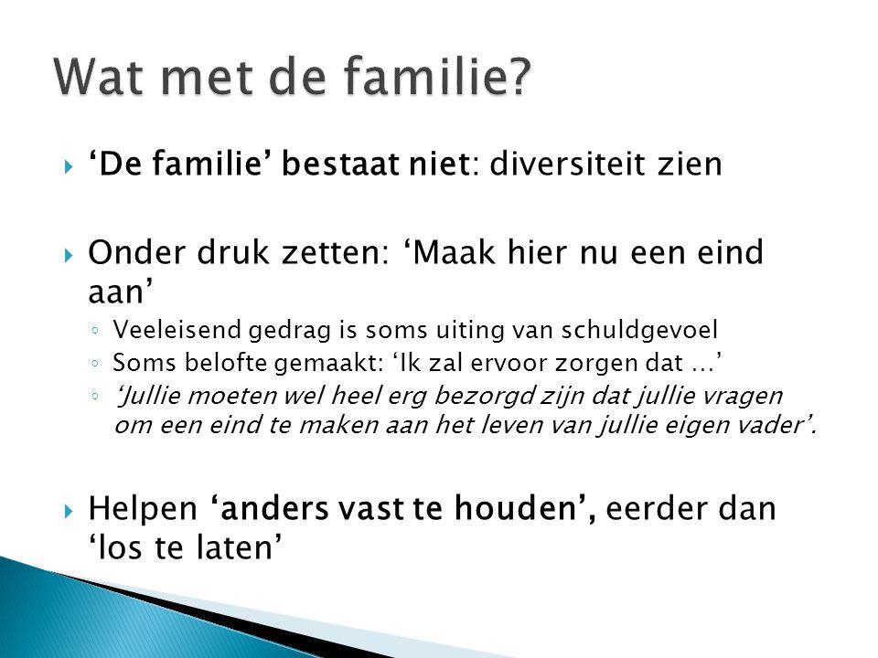  'De familie' bestaat niet: diversiteit zien  Onder druk zetten: 'Maak hier nu een eind aan' ◦ Veeleisend gedrag is soms uiting van schuldgevoel ◦ S