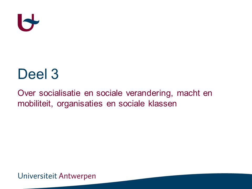 Deel 3 Over socialisatie en sociale verandering, macht en mobiliteit, organisaties en sociale klassen