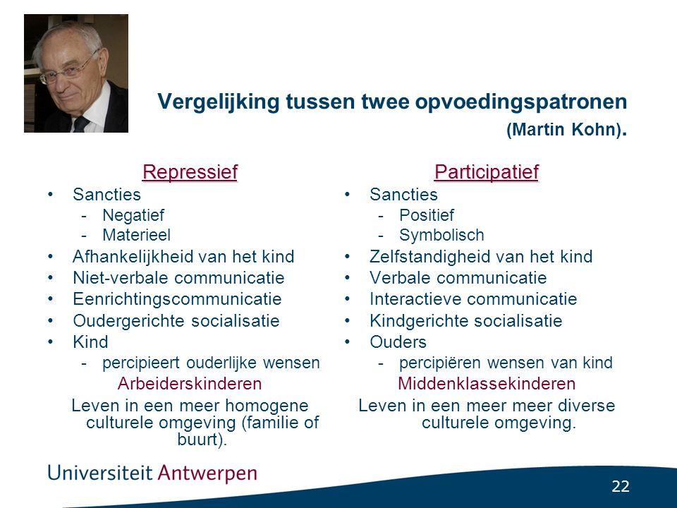 22 Vergelijking tussen twee opvoedingspatronen (Martin Kohn).
