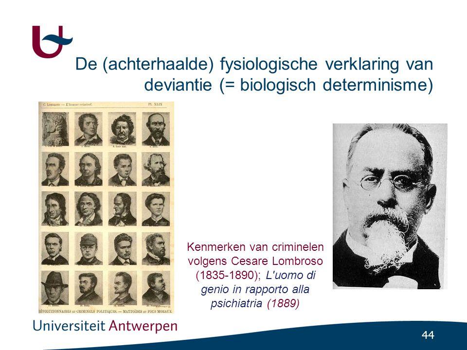 44 De (achterhaalde) fysiologische verklaring van deviantie (= biologisch determinisme) Kenmerken van criminelen volgens Cesare Lombroso (1835-1890); L uomo di genio in rapporto alla psichiatria (1889)