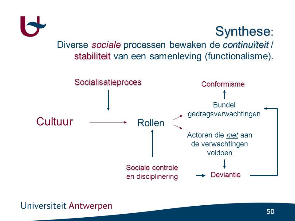 50 Synthese continuïteit stabiliteit Synthese : Diverse sociale processen bewaken de continuïteit / stabiliteit van een samenleving (functionalisme).