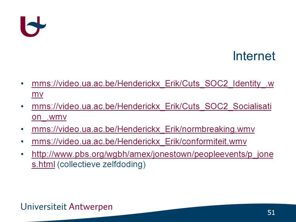 51 Internet mms://video.ua.ac.be/Henderickx_Erik/Cuts_SOC2_Identity_.w mvmms://video.ua.ac.be/Henderickx_Erik/Cuts_SOC2_Identity_.w mv mms://video.ua.ac.be/Henderickx_Erik/Cuts_SOC2_Socialisati on_.wmvmms://video.ua.ac.be/Henderickx_Erik/Cuts_SOC2_Socialisati on_.wmv mms://video.ua.ac.be/Henderickx_Erik/normbreaking.wmv mms://video.ua.ac.be/Henderickx_Erik/conformiteit.wmv http://www.pbs.org/wgbh/amex/jonestown/peopleevents/p_jone s.html (collectieve zelfdoding)http://www.pbs.org/wgbh/amex/jonestown/peopleevents/p_jone s.html