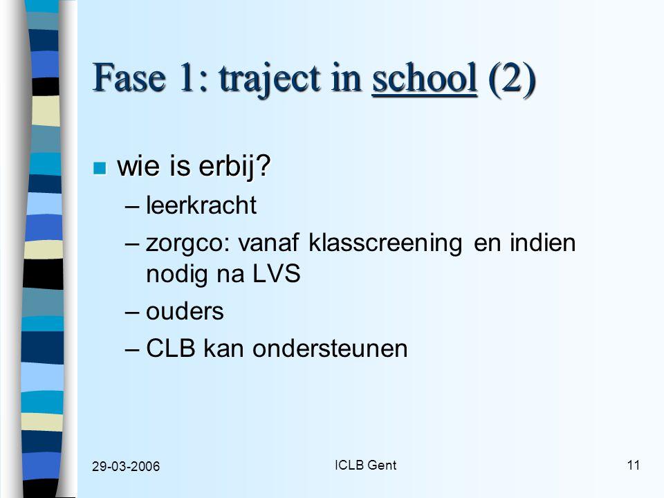 29-03-2006 ICLB Gent11 Fase 1: traject in school (2) n wie is erbij.
