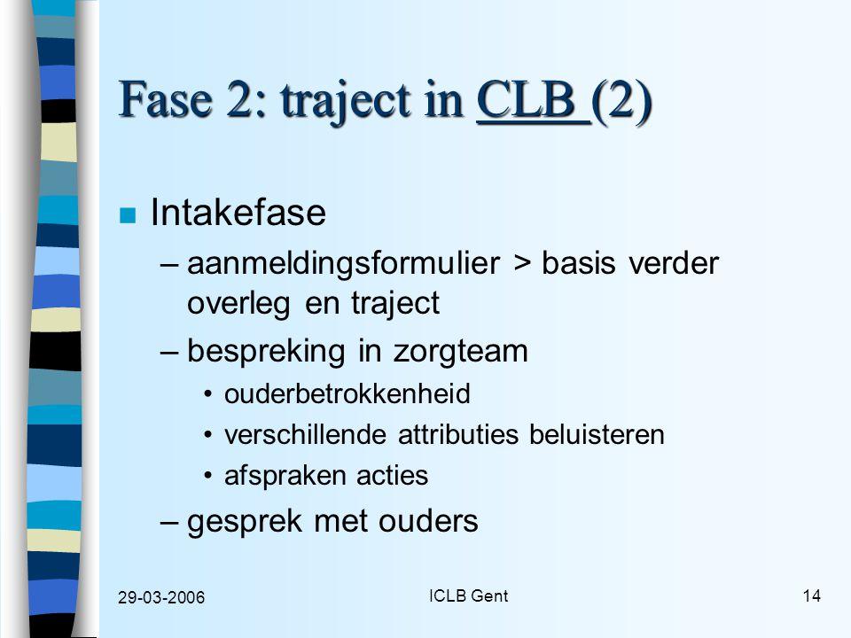 29-03-2006 ICLB Gent14 Fase 2: traject in CLB (2) n Intakefase –aanmeldingsformulier > basis verder overleg en traject –bespreking in zorgteam ouderbetrokkenheid verschillende attributies beluisteren afspraken acties –gesprek met ouders