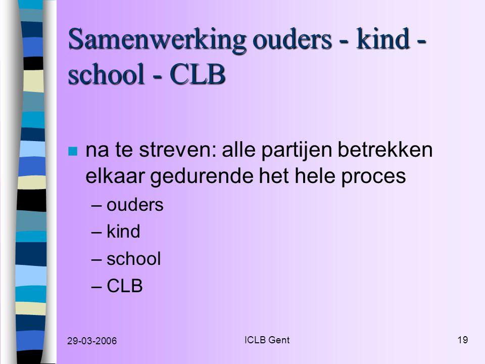 29-03-2006 ICLB Gent19 Samenwerking ouders - kind - school - CLB n na te streven: alle partijen betrekken elkaar gedurende het hele proces –ouders –kind –school –CLB