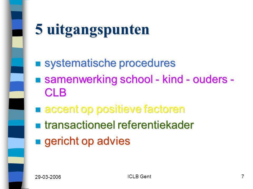 29-03-2006 ICLB Gent28 Gericht op advisering (1) n niveau school –doel van onderzoek is bijsturen aanpak in klas –knelpunt: bepaalde acties niet echt nodig