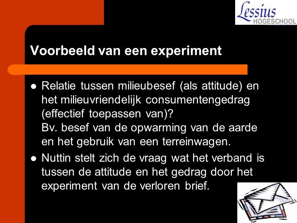 Voorbeeld van een experiment Relatie tussen milieubesef (als attitude) en het milieuvriendelijk consumentengedrag (effectief toepassen van)? Bv. besef