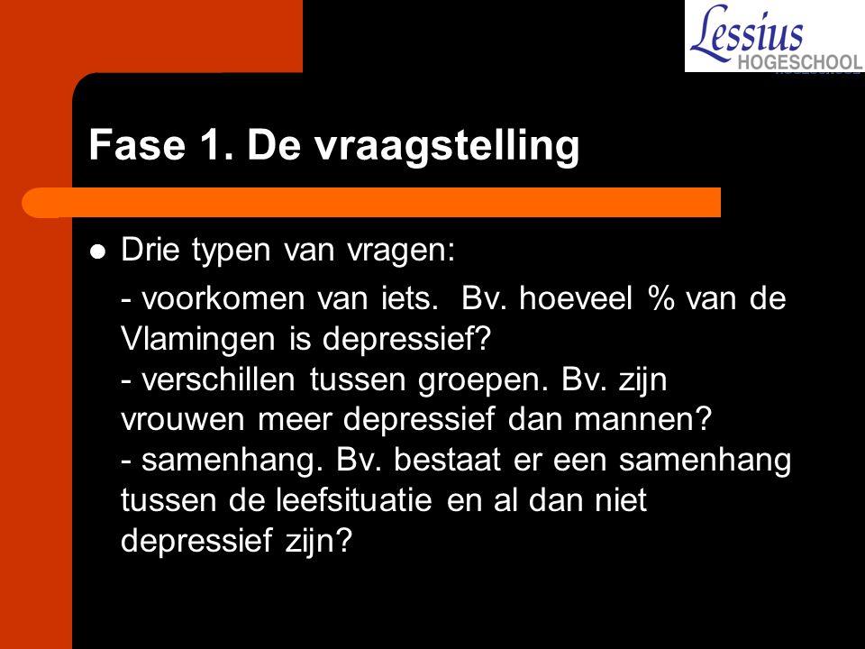 Drie typen van vragen: - voorkomen van iets. Bv. hoeveel % van de Vlamingen is depressief? - verschillen tussen groepen. Bv. zijn vrouwen meer depress