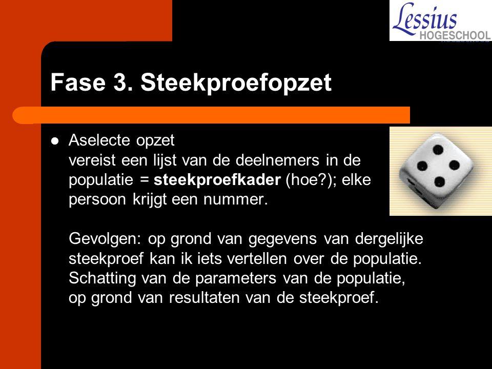 Fase 3. Steekproefopzet Aselecte opzet vereist een lijst van de deelnemers in de populatie = steekproefkader (hoe?); elke persoon krijgt een nummer. G