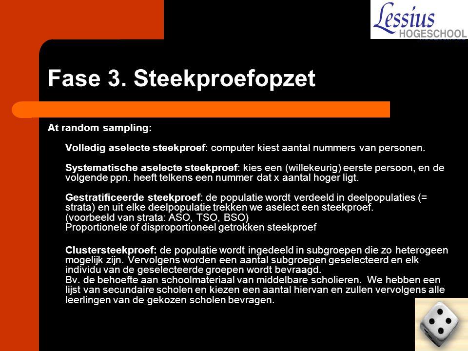 Fase 3. Steekproefopzet At random sampling: Volledig aselecte steekproef: computer kiest aantal nummers van personen. Systematische aselecte steekproe