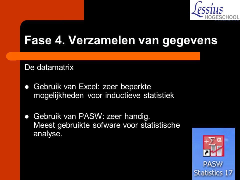Fase 4. Verzamelen van gegevens De datamatrix Gebruik van Excel: zeer beperkte mogelijkheden voor inductieve statistiek Gebruik van PASW: zeer handig.