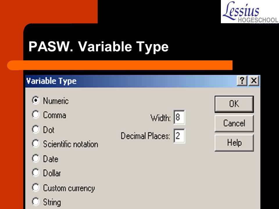 PASW. Variable Type