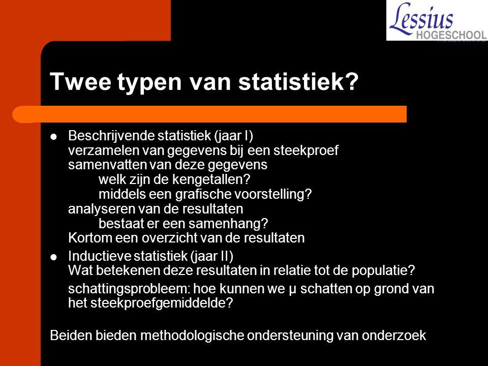 Twee typen van statistiek? Beschrijvende statistiek (jaar I) verzamelen van gegevens bij een steekproef samenvatten van deze gegevens welk zijn de ken