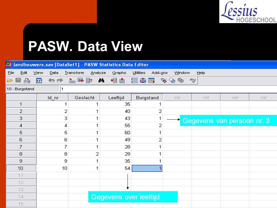 PASW. Data View Gegevens van persoon nr. 3 Gegevens over leeftijd