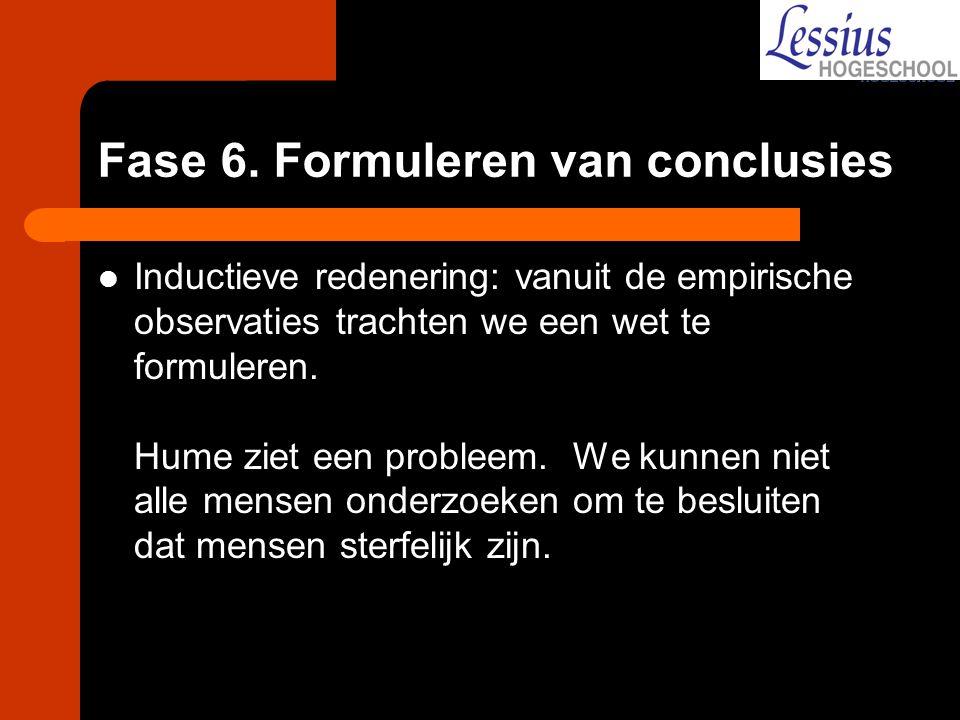 Fase 6. Formuleren van conclusies Inductieve redenering: vanuit de empirische observaties trachten we een wet te formuleren. Hume ziet een probleem. W