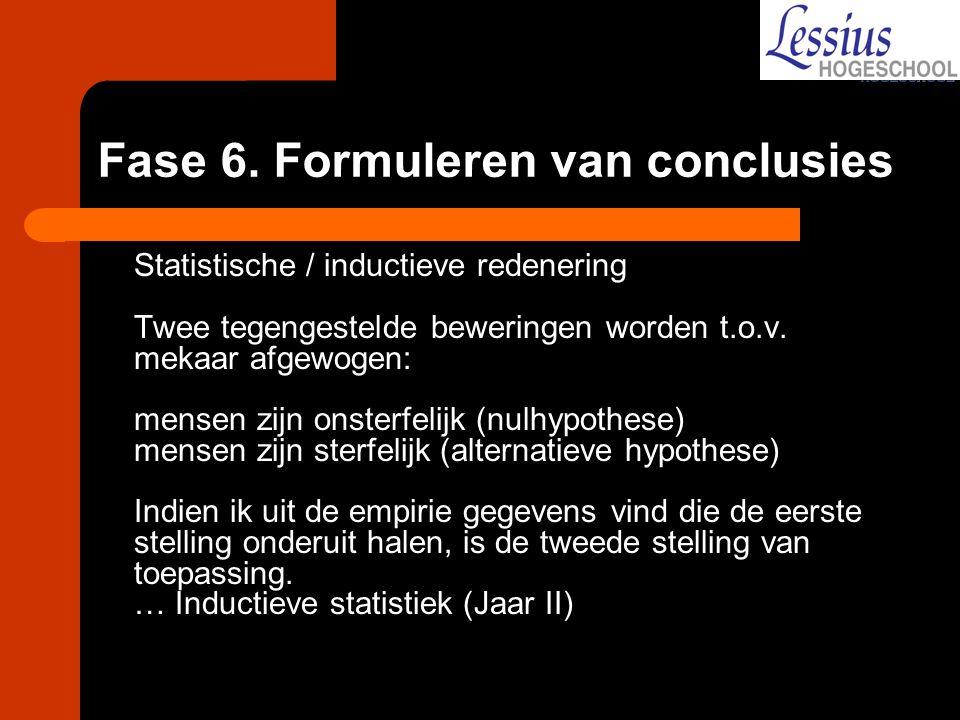 Fase 6. Formuleren van conclusies Statistische / inductieve redenering Twee tegengestelde beweringen worden t.o.v. mekaar afgewogen: mensen zijn onste
