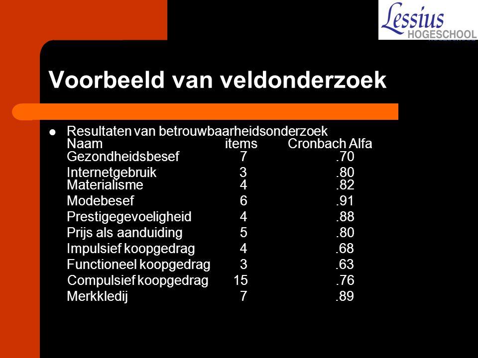Voorbeeld van veldonderzoek Resultaten van betrouwbaarheidsonderzoek Naam itemsCronbach Alfa Gezondheidsbesef 7.70 Internetgebruik 3.80 Materialisme 4