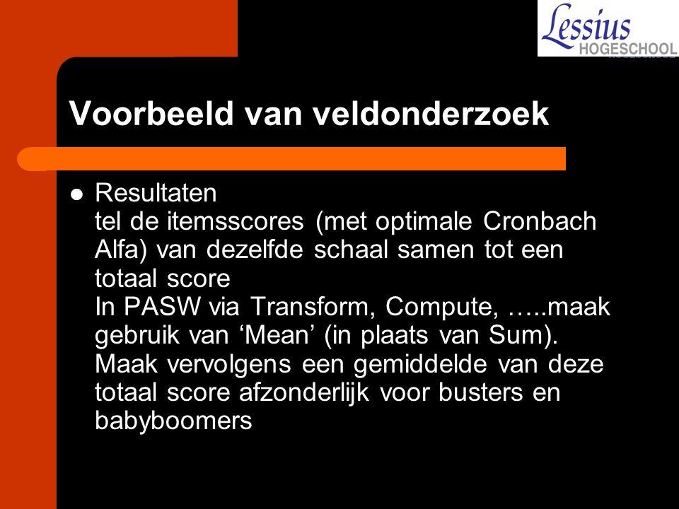 Voorbeeld van veldonderzoek Resultaten tel de itemsscores (met optimale Cronbach Alfa) van dezelfde schaal samen tot een totaal score In PASW via Tran