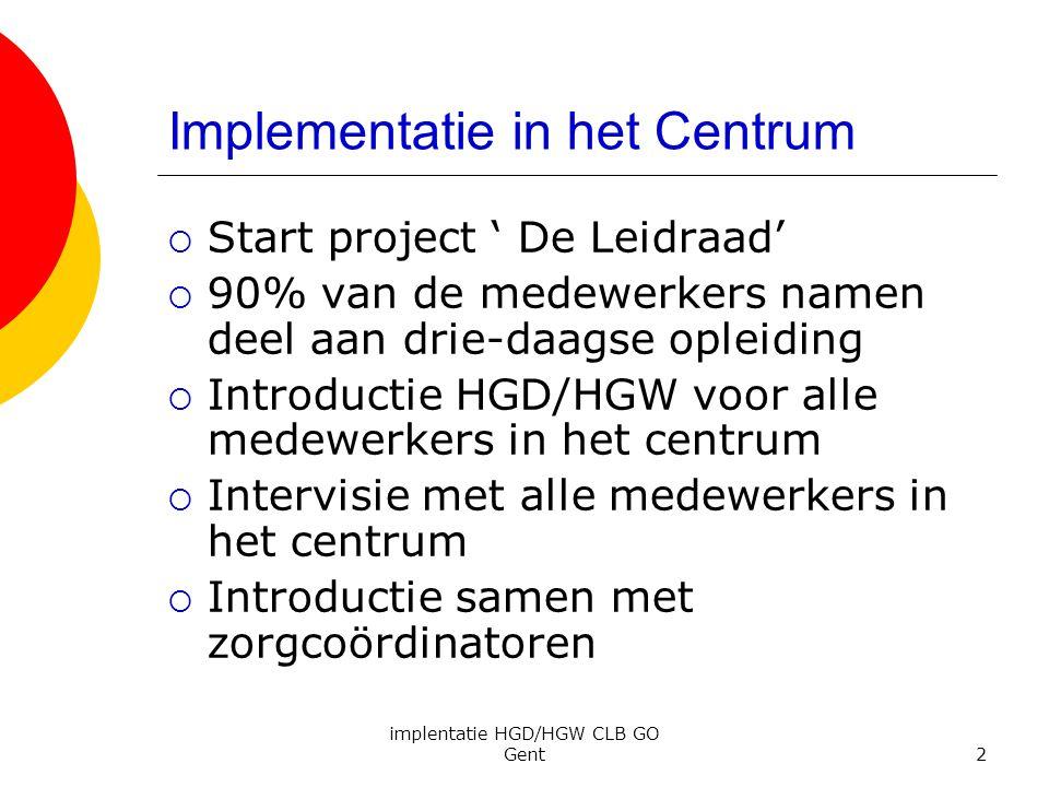 implentatie HGD/HGW CLB GO Gent2 Implementatie in het Centrum  Start project ' De Leidraad'  90% van de medewerkers namen deel aan drie-daagse oplei