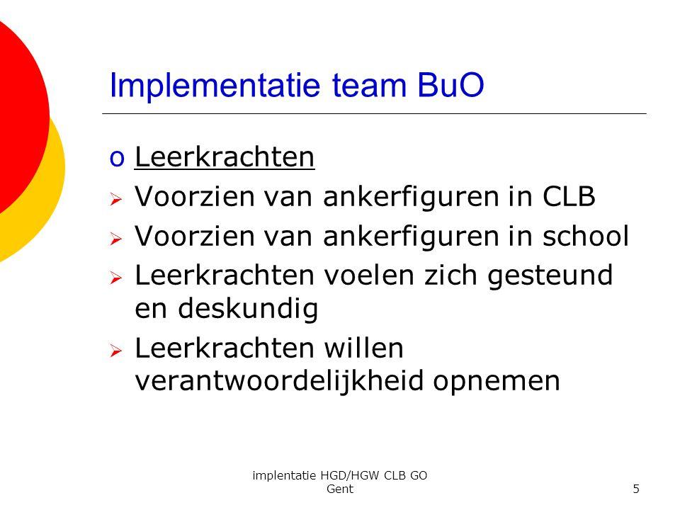 implentatie HGD/HGW CLB GO Gent5 Implementatie team BuO oLeerkrachten  Voorzien van ankerfiguren in CLB  Voorzien van ankerfiguren in school  Leerk
