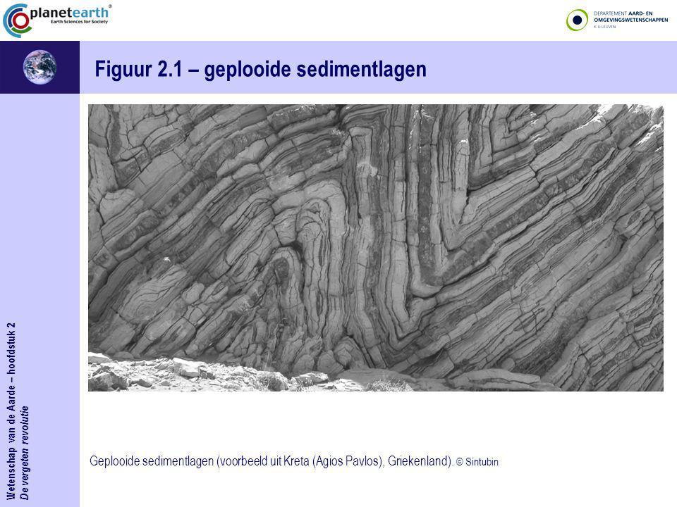 Wetenschap van de Aarde – hoofdstuk 2 De vergeten revolutie Figuur 2.1bis – geplooide sedimentlagen Geplooide sedimentlagen (voorbeeld uit Kreta (Agios Pavlos), Griekenland).