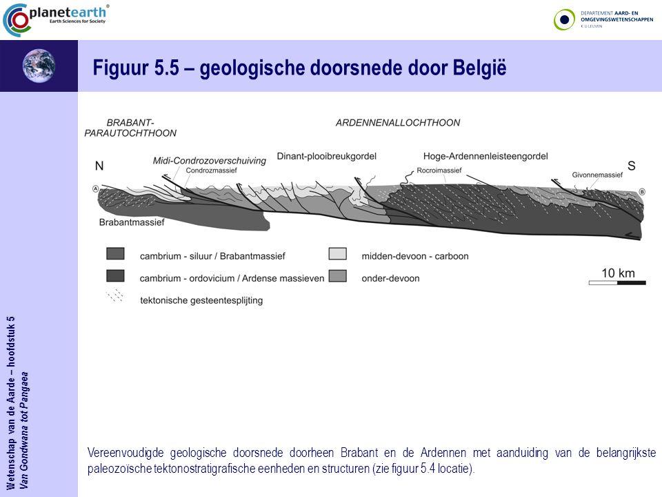 Wetenschap van de Aarde – hoofdstuk 5 Van Gondwana tot Pangaea Figuur 5.5 – geologische doorsnede door België Vereenvoudigde geologische doorsnede doorheen Brabant en de Ardennen met aanduiding van de belangrijkste paleozoïsche tektonostratigrafische eenheden en structuren (zie figuur 5.4 locatie).
