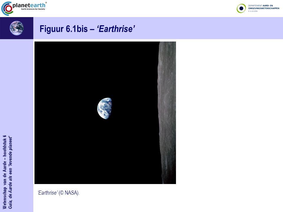Wetenschap van de Aarde – hoofdstuk 6 Gaia, de Aarde als een 'levende planeet' Figuur 6.1bis – 'Earthrise' 'Earthrise' (© NASA).