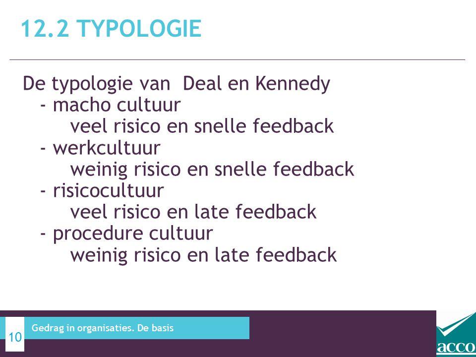 De typologie van Deal en Kennedy - macho cultuur veel risico en snelle feedback - werkcultuur weinig risico en snelle feedback - risicocultuur veel ri