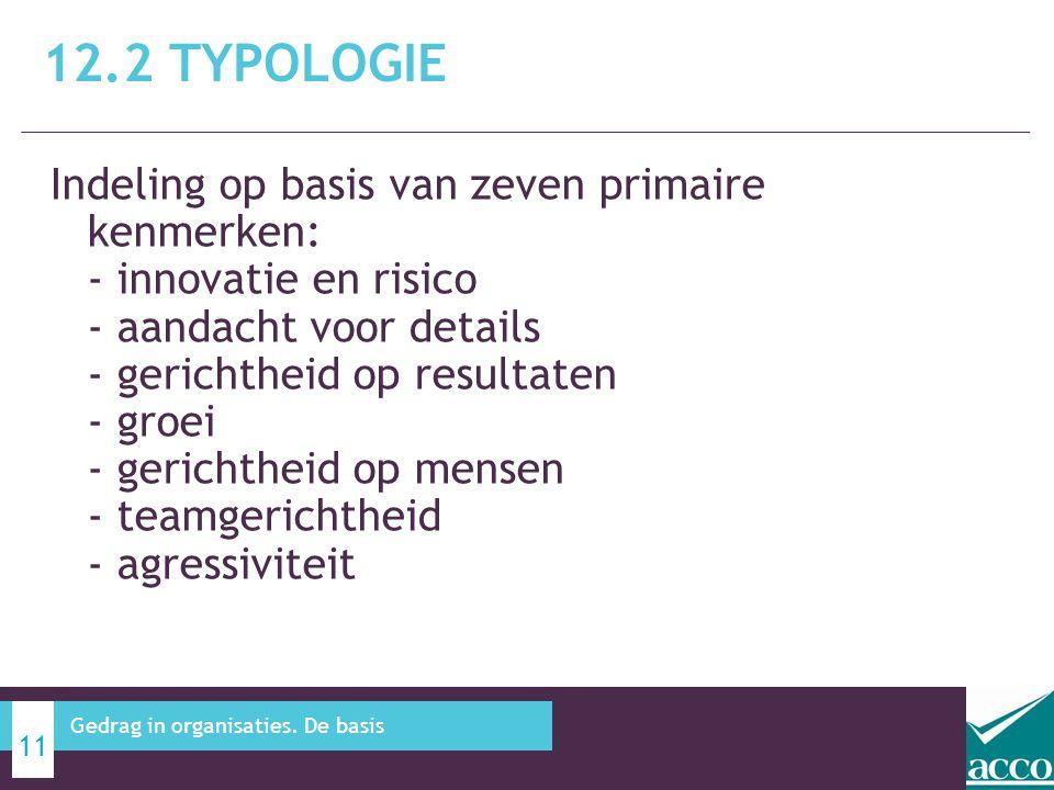 Indeling op basis van zeven primaire kenmerken: - innovatie en risico - aandacht voor details - gerichtheid op resultaten - groei - gerichtheid op men