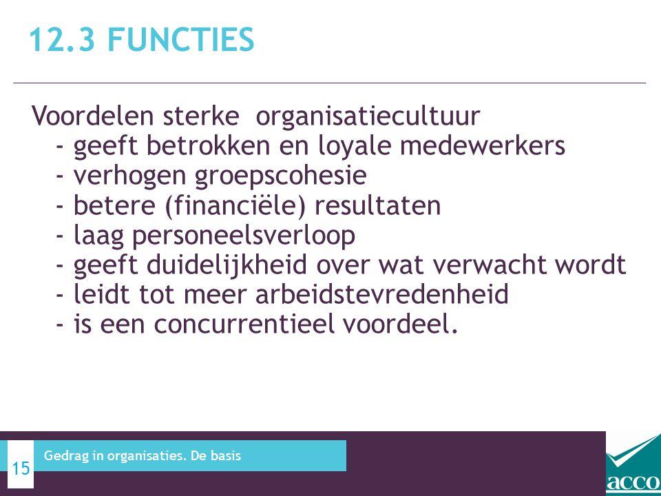 Voordelen sterke organisatiecultuur - geeft betrokken en loyale medewerkers - verhogen groepscohesie - betere (financiële) resultaten - laag personeel