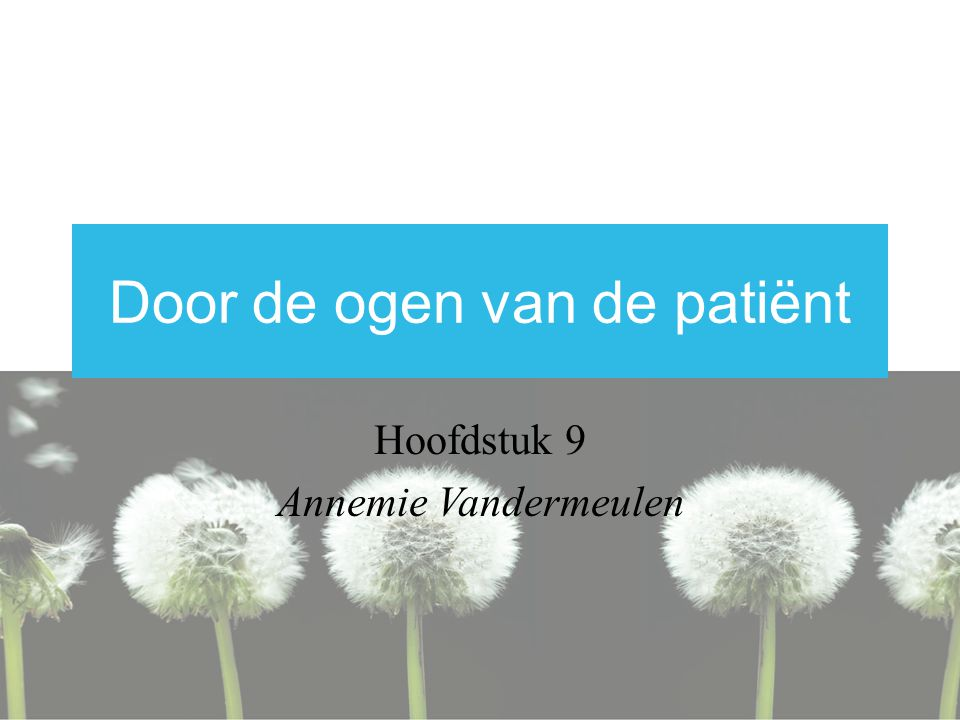 Door de ogen van de patiënt Hoofdstuk 9 Annemie Vandermeulen