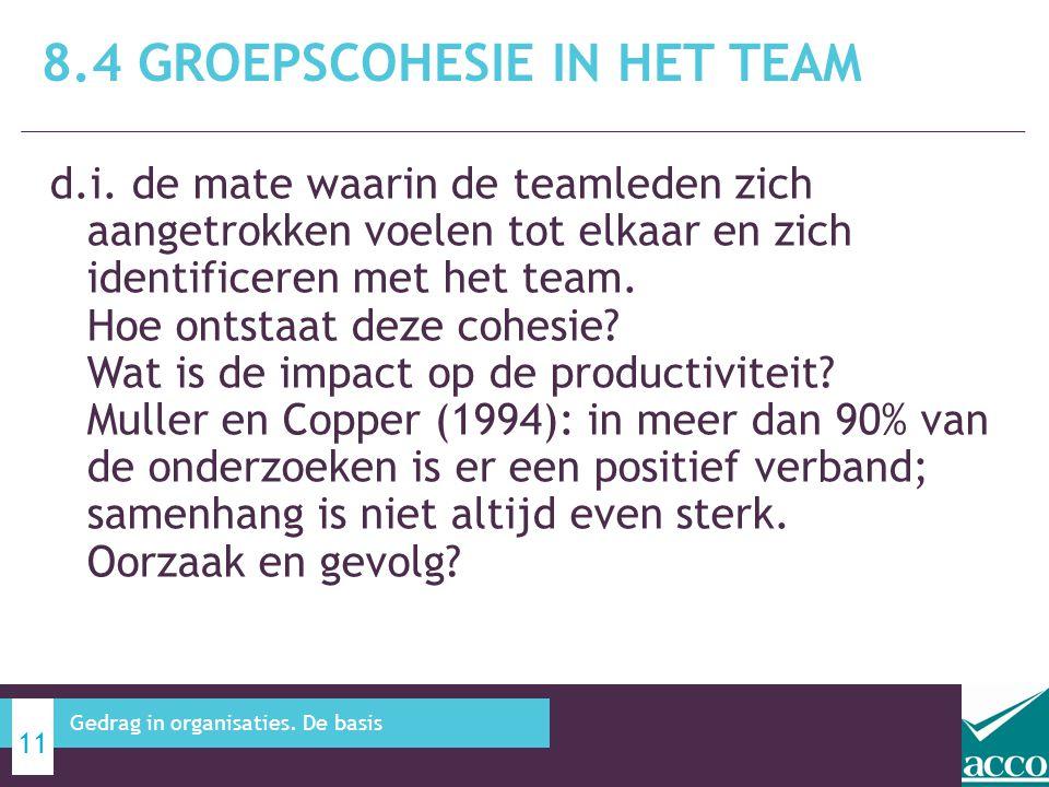 d.i. de mate waarin de teamleden zich aangetrokken voelen tot elkaar en zich identificeren met het team. Hoe ontstaat deze cohesie? Wat is de impact o