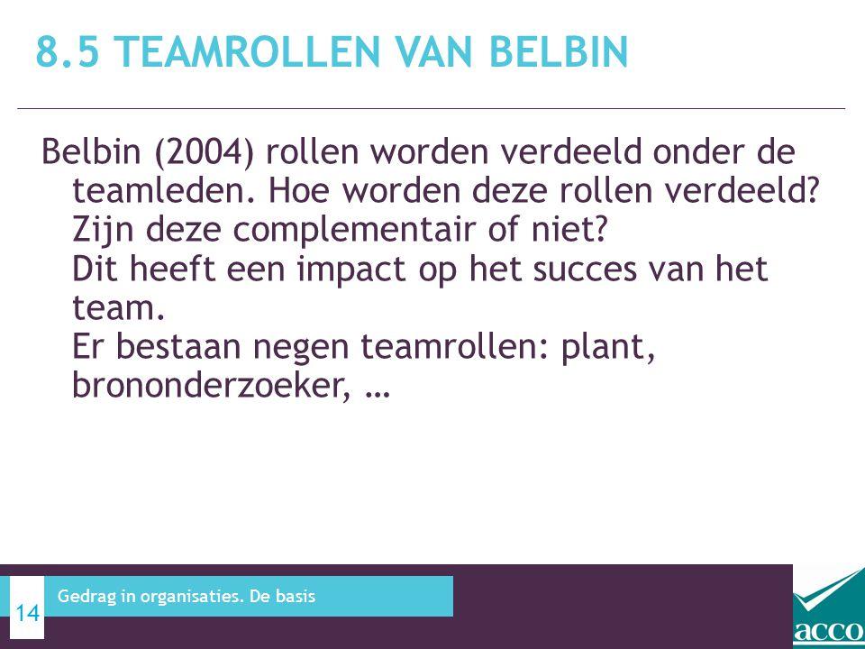 Belbin (2004) rollen worden verdeeld onder de teamleden. Hoe worden deze rollen verdeeld? Zijn deze complementair of niet? Dit heeft een impact op het