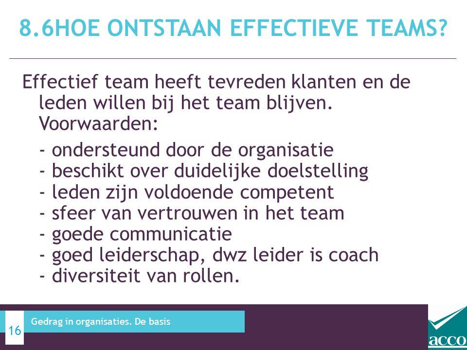 Effectief team heeft tevreden klanten en de leden willen bij het team blijven. Voorwaarden: - ondersteund door de organisatie - beschikt over duidelij