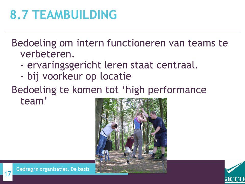 Bedoeling om intern functioneren van teams te verbeteren. - ervaringsgericht leren staat centraal. - bij voorkeur op locatie Bedoeling te komen tot 'h
