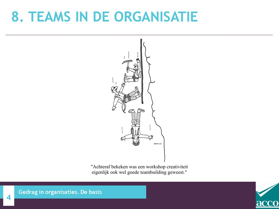 8. TEAMS IN DE ORGANISATIE 4 Gedrag in organisaties. De basis