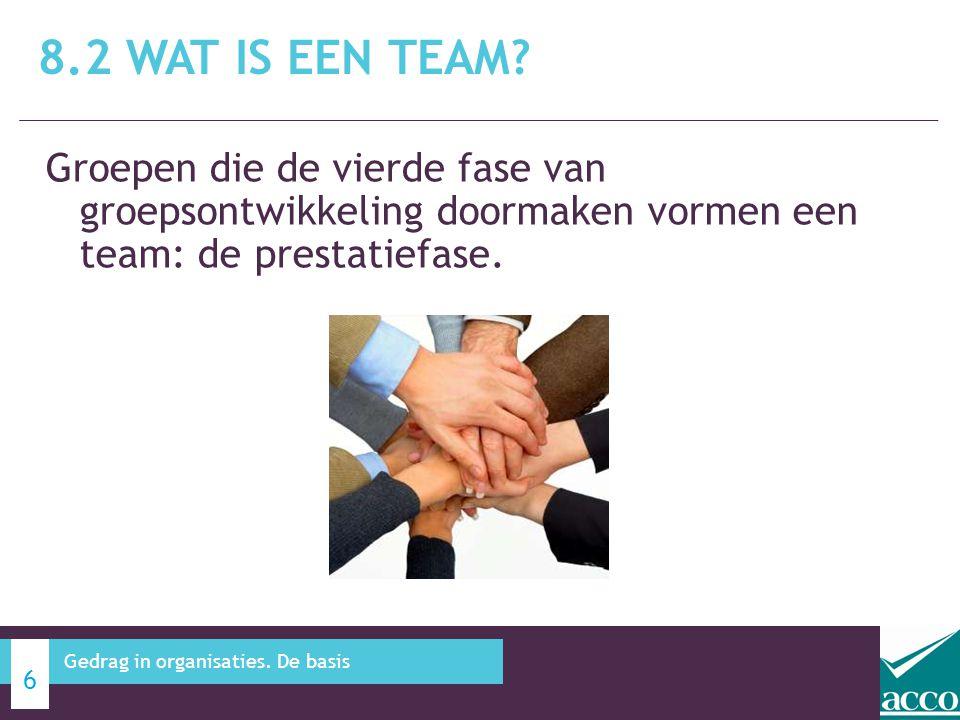 Groepen die de vierde fase van groepsontwikkeling doormaken vormen een team: de prestatiefase. 8.2 WAT IS EEN TEAM? 6 Gedrag in organisaties. De basis