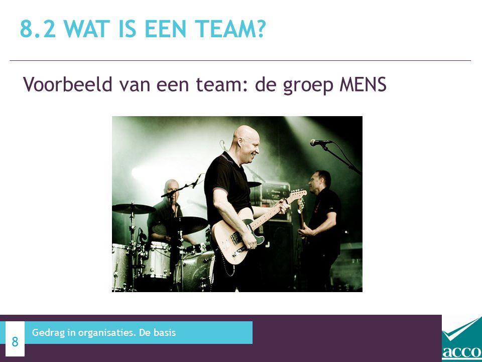 Voorbeeld van een team: de groep MENS 8.2 WAT IS EEN TEAM? 8 Gedrag in organisaties. De basis
