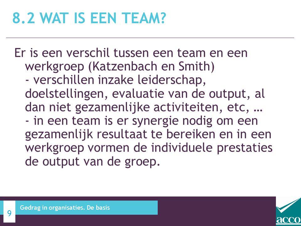 Er is een verschil tussen een team en een werkgroep (Katzenbach en Smith) - verschillen inzake leiderschap, doelstellingen, evaluatie van de output, a