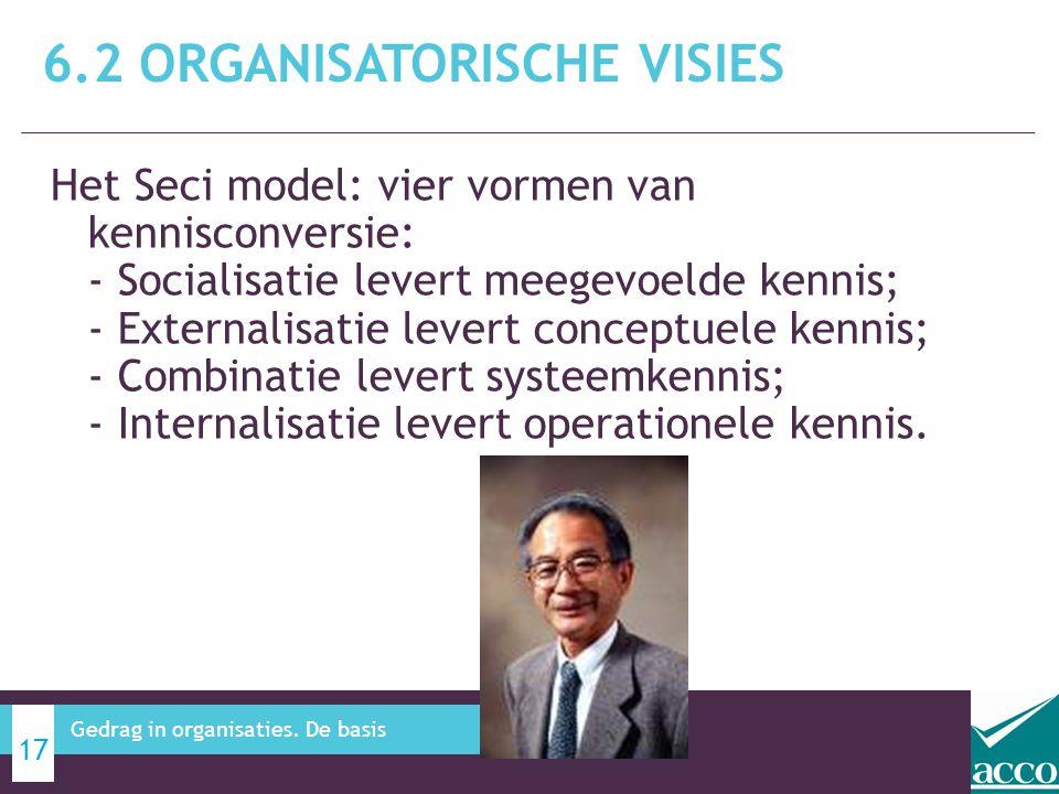 Het Seci model: vier vormen van kennisconversie: - Socialisatie levert meegevoelde kennis; - Externalisatie levert conceptuele kennis; - Combinatie le