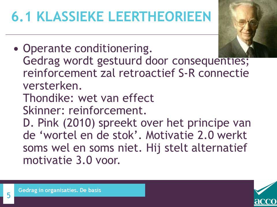 Operante conditionering. Gedrag wordt gestuurd door consequenties; reinforcement zal retroactief S-R connectie versterken. Thondike: wet van effect Sk