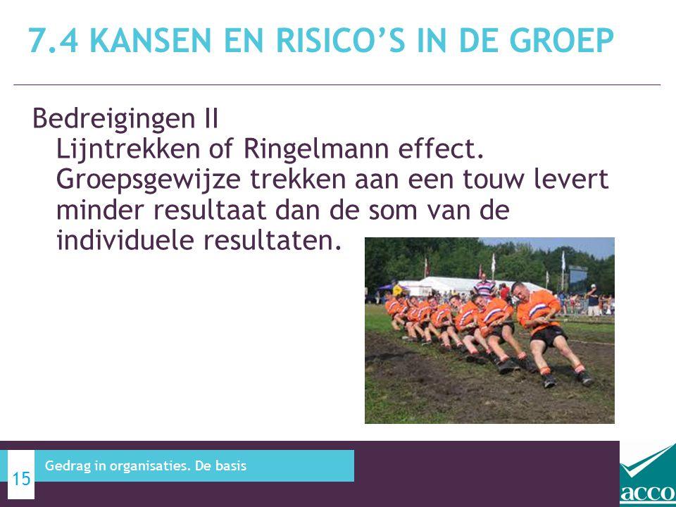 Bedreigingen II Lijntrekken of Ringelmann effect. Groepsgewijze trekken aan een touw levert minder resultaat dan de som van de individuele resultaten.