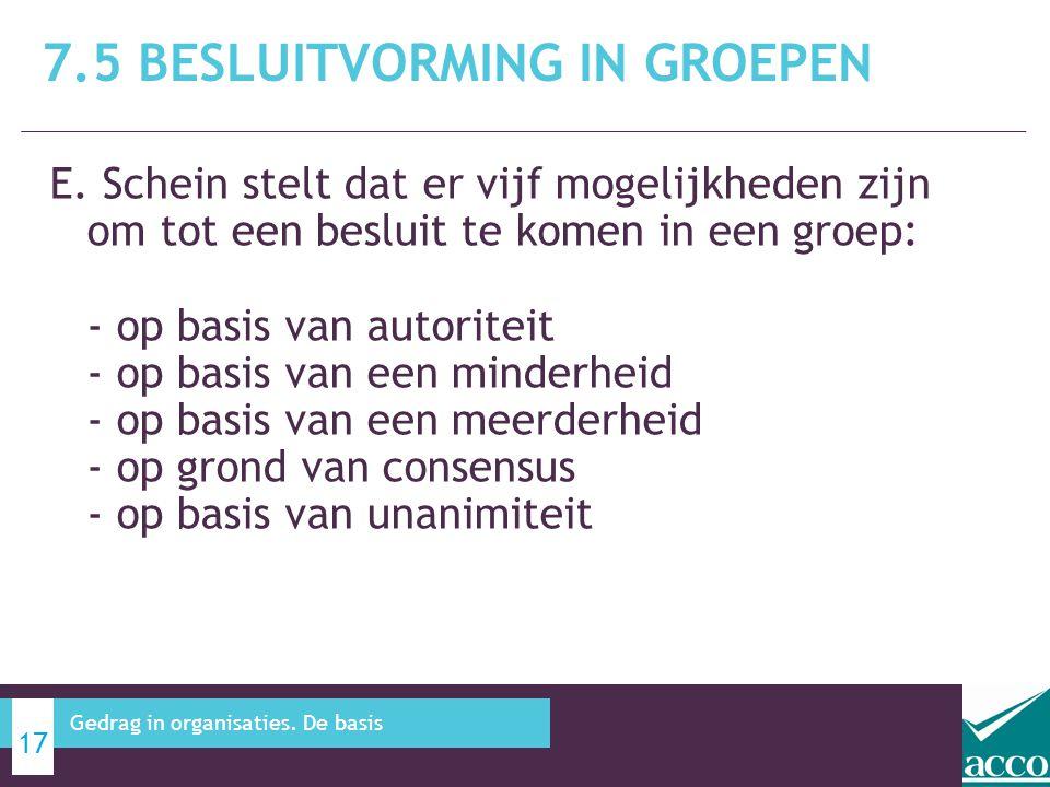 E. Schein stelt dat er vijf mogelijkheden zijn om tot een besluit te komen in een groep: - op basis van autoriteit - op basis van een minderheid - op