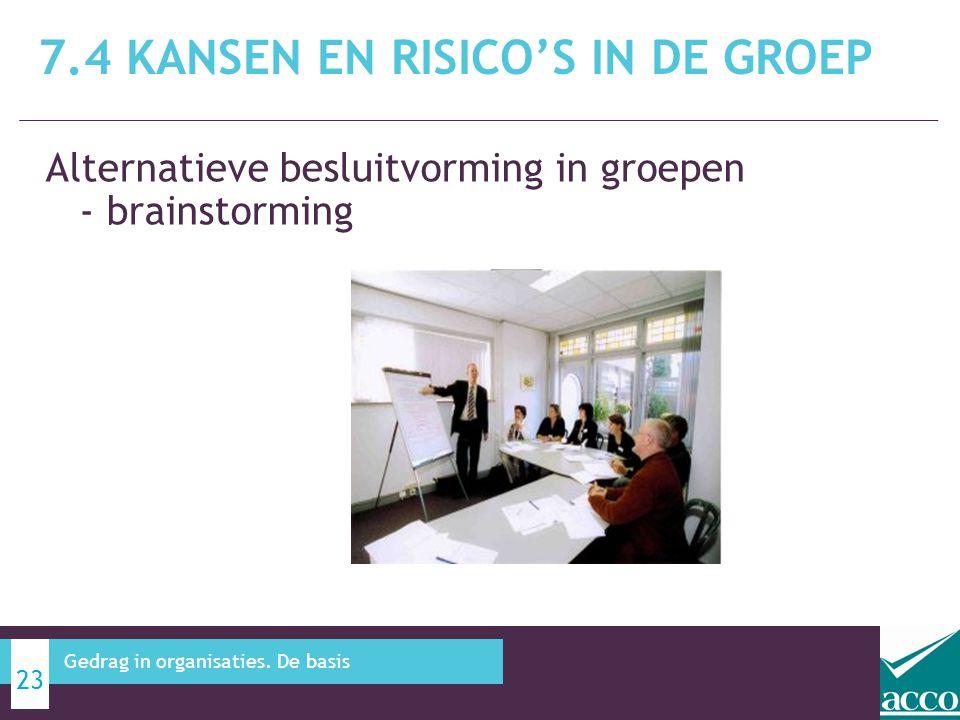 Alternatieve besluitvorming in groepen - brainstorming 7.4 KANSEN EN RISICO'S IN DE GROEP 23 Gedrag in organisaties. De basis