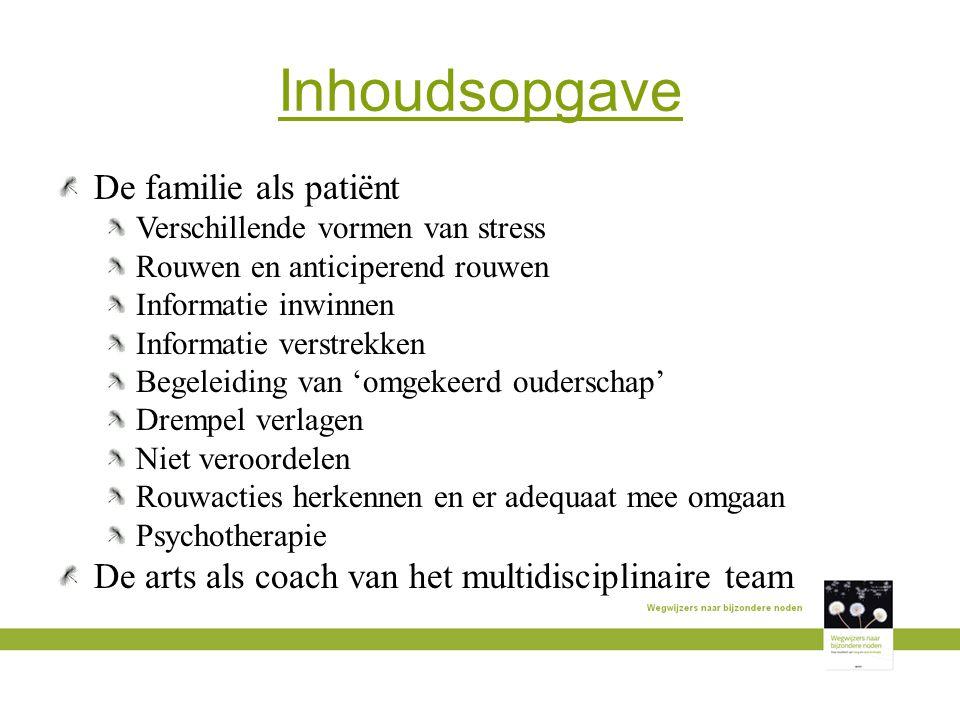 Inhoudsopgave De familie als patiënt Verschillende vormen van stress Rouwen en anticiperend rouwen Informatie inwinnen Informatie verstrekken Begeleid