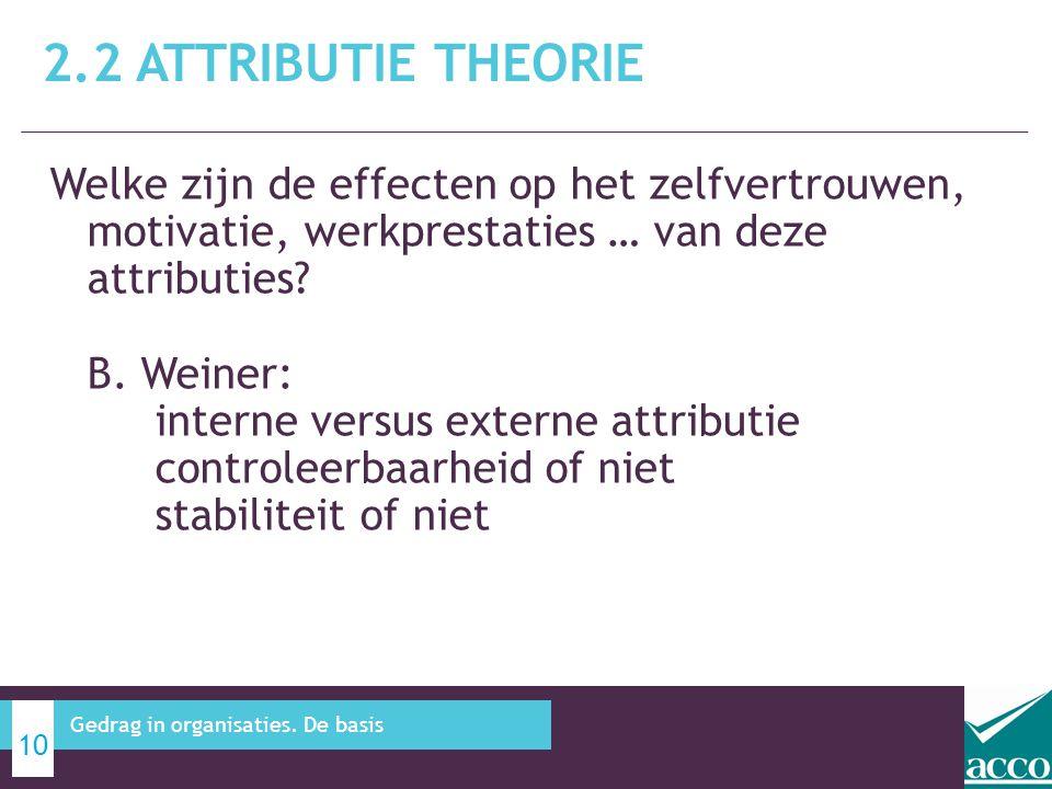 Welke zijn de effecten op het zelfvertrouwen, motivatie, werkprestaties … van deze attributies? B. Weiner: interne versus externe attributie controlee